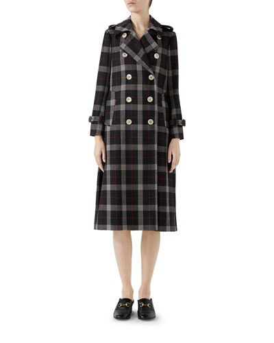 Double-Breasted Oversized Check Wool Jacket with Back Pleat