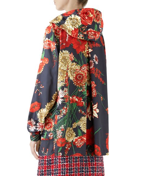 2c719416c Gucci Zip-Front Hooded Spring Floral-Bouquet Print Nylon Jacket w/ Logo  Patch