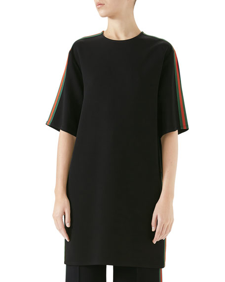 Short-Sleeve Boxy Light-Viscose Cady Stretch Dress W/ Web Stripe in Black