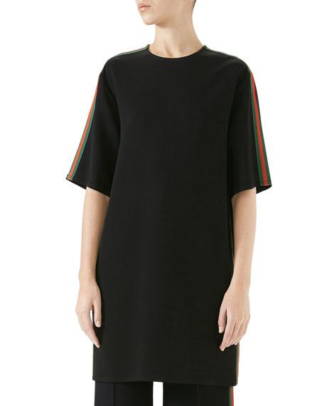 Short-Sleeve Boxy Light-Viscose Cady Stretch Dress W/ Web Stripe in Black