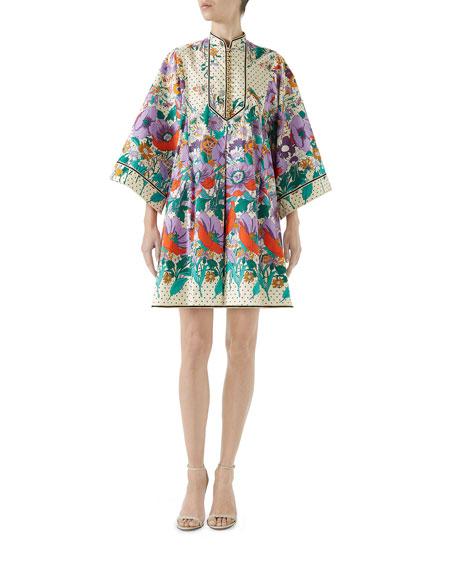 Gucci Long-Sleeve Button-Down Plastron Garden Floral-Print Stars