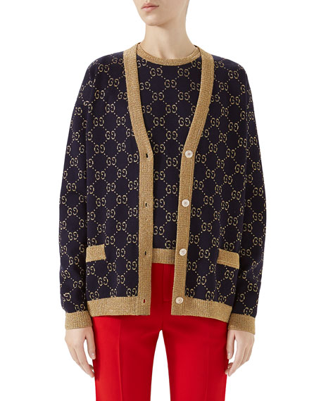 Button-Front Long-Sleeve Fine Cotton Metallic Gg-Jacquard Cardigan, Blue/Gold Cotton Lurex