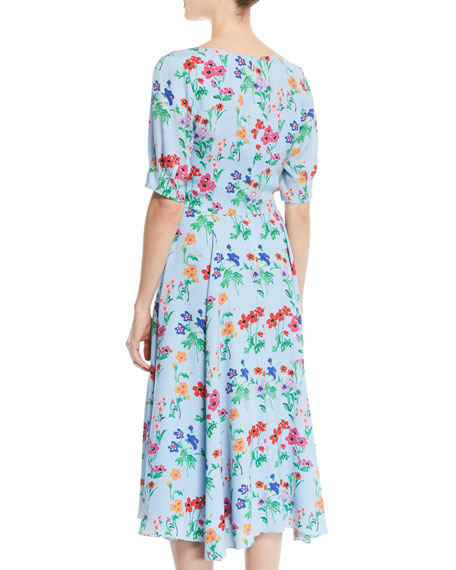 Fleetwood V-Neck Half-Sleeve Floral-Print Midi Silk Dress