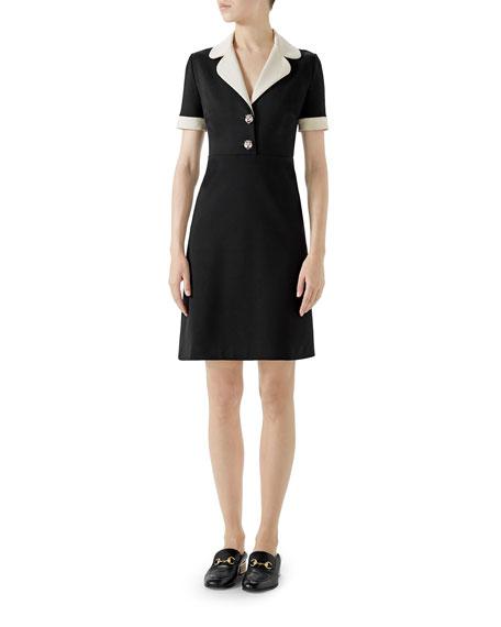 Short-Sleeve A-Line Jersey Dress W/ Contrast Trim in Black