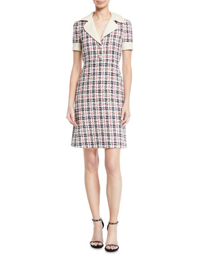 Short-Sleeve Tweed A-line Dress with Collar