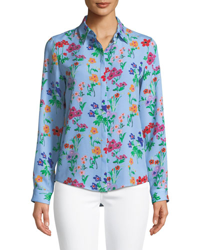 Oak Button-Front Long-Sleeve Floral-Print Silk Blouse