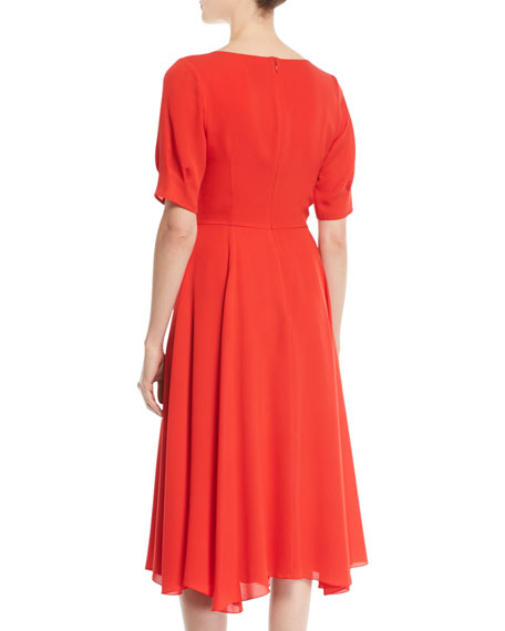Fleetwood V-Neck Short-Sleeve A-Line Midi Silk Dress