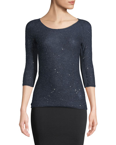 3/4-Sleeve Mohair Knit Sweater Top with Sparkle, Navy