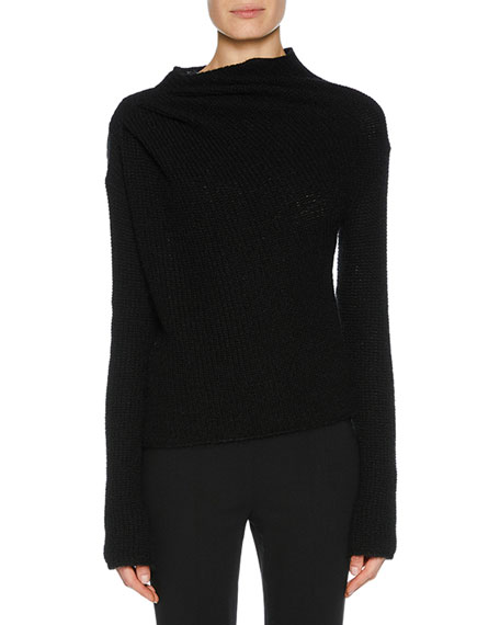 Asymmetric-Ruched Cashmere Mohair Sweater