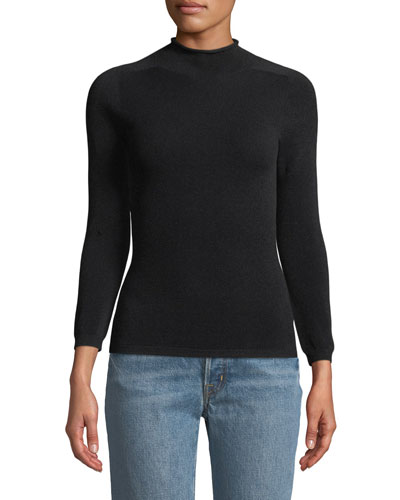 Mock-Neck Long-Sleeve Pullover Knit Top