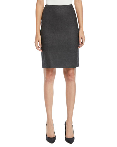 Cashmere Knee-Length Pencil Skirt