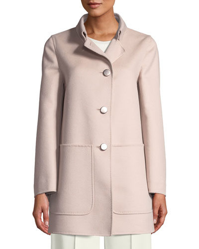 Single-Breasted Button-Front Wool-Angora Jacket