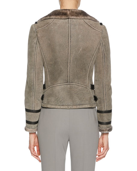 Button-Front Shearling Biker Jacket w/ Leather Trim