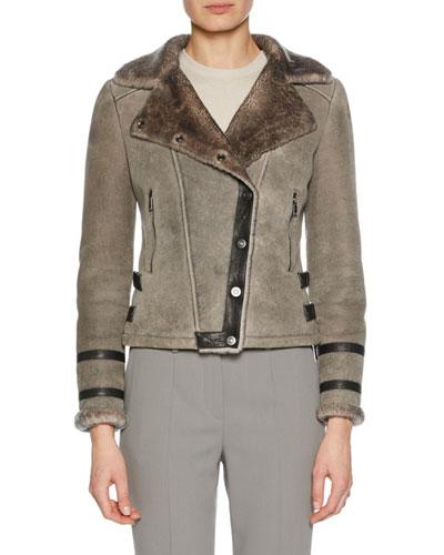 Button-Front Shearling Biker Jacket w/ Leather Trim