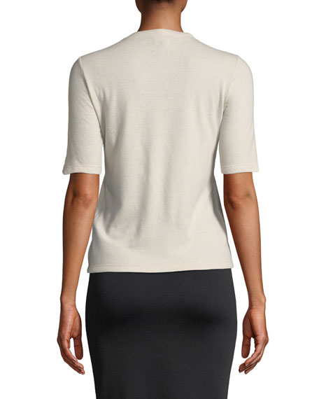 Crewneck Short-Sleeve Cashmere T-Shirt