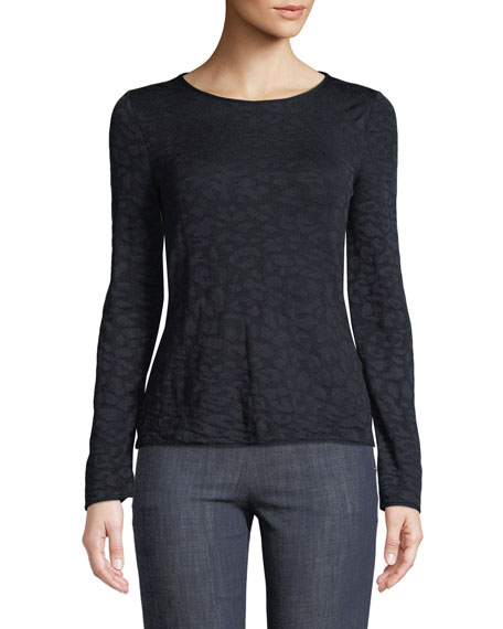 Long-Sleeve Round-Neck Leopard-Print Pullover Top
