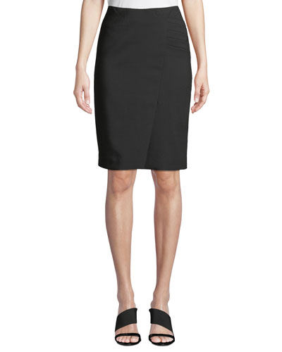 Side-Ruched Slit-Hem Pencil Skirt