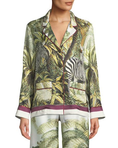 FRS BY FRANCESCA RUFFINI LONG-SLEEVE BUTTON-DOWN WILDLIFE-PRINT SILK TOP