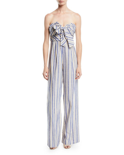 Honolulu Bow-Top Striped Linen-Cotton Wide-Leg Jumpsuit