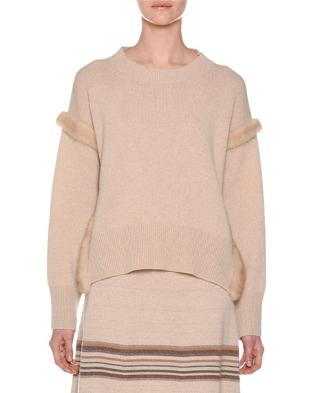 Cashmere Sweater with Mink Fur Ribbon Details, Camel