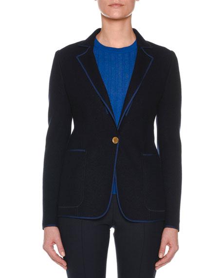 Notched-Lapel One-Button Jacket w/ Contrast Trim