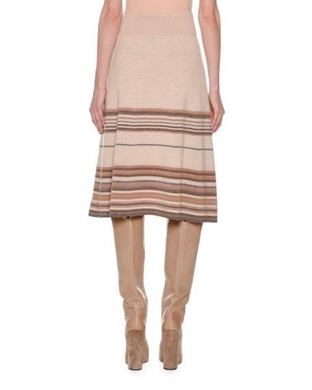 Multi-Stripe Metallic Cashmere Knit Knee-Length A-Line Skirt