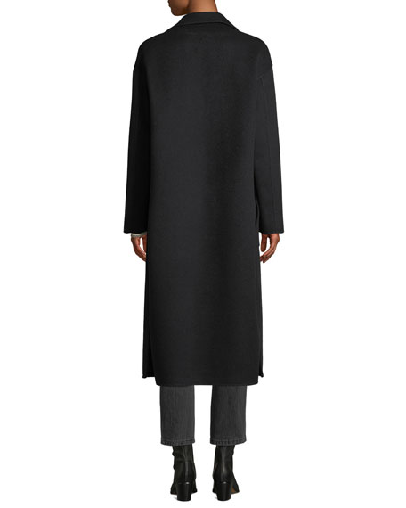 Double-faced Cashmere Mid-Length Robe Coat w/ Sequin Inlay