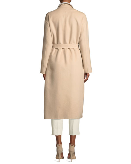 Double-faced Cashmere Mid-Length Robe Coat w/ Contrast Sequin Inlay
