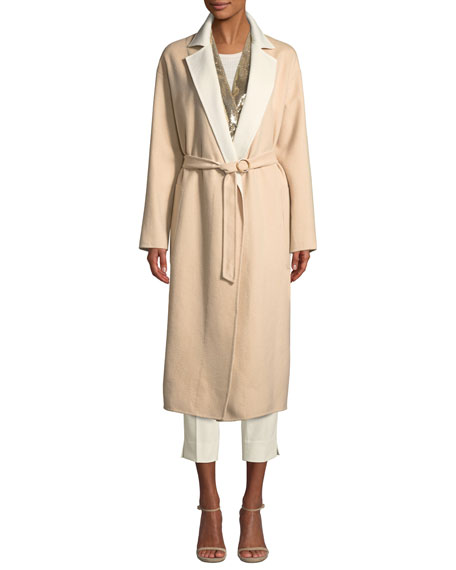 Agnona Double-faced Cashmere Mid-Length Robe Coat w/ Contrast