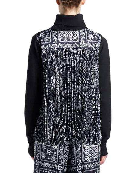 Turtleneck Wool Sweater with Bandana-Print Pleated Back