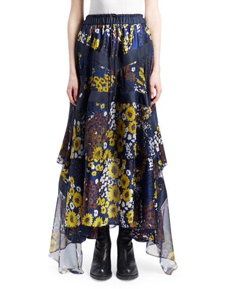Floral Print Ruffle Maxi Skirt