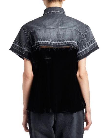 Short-Sleeve Button-Down Swing Velvet & Denim Shirt