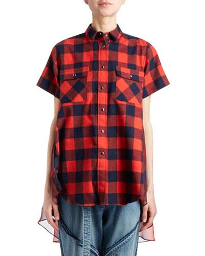 Short-Sleeve Button-Front Buffalo-Check Cotton Tunic Dress w/ Combo Back