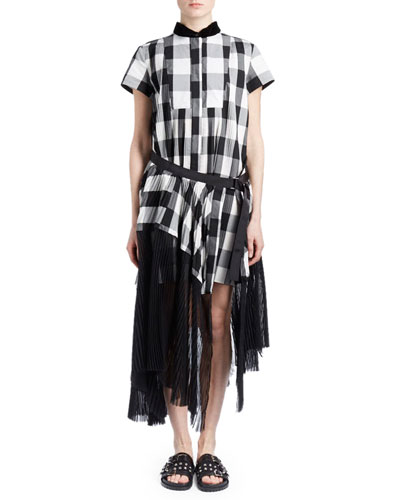 Short-Sleeve Button-Down Belted Plaid Midi Dress w/ Pleated Combo