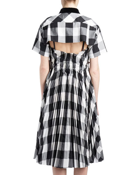 Short-Sleeve Button-Down Buffalo-Check Poplin Swing Dress w/ Cutout Back