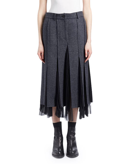 GLEN CHECK WOOL GODET MIDI SKIRT