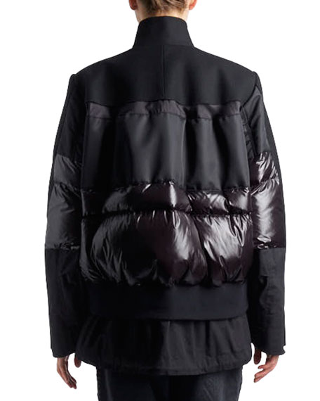 Stand-Collar Zip-Front Coat with Puffer Combo