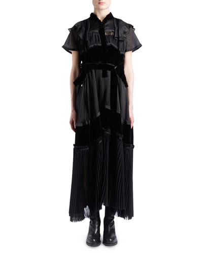 Short-Sleeve Satin Chiffon & Velvet Mixed-Media Boho Long Dress