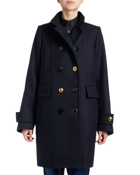 DOUBLE-BREASTED WOOL PEA COAT W/ ASSORTED BUTTONS