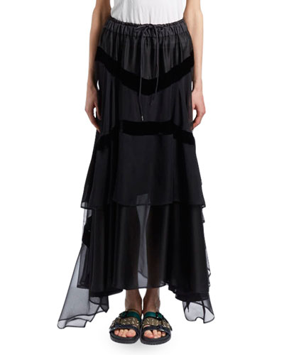 Satin Chiffon Combo Boho Maxi Skirt w/ Drawstring Waist