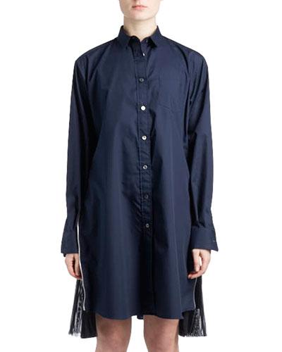 Long-Sleeve Button-Down Poplin Shirtdress w/ Pleated Sides