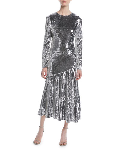 Long-Sleeve Jewel-Neck Ankle-Length Sequin Evening Gown