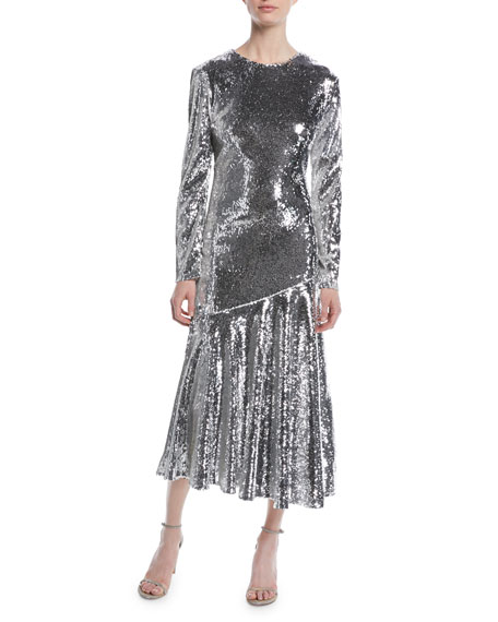 Long-Sleeve Jewel-Neck Ankle-Length Sequin Evening Gown in Silver