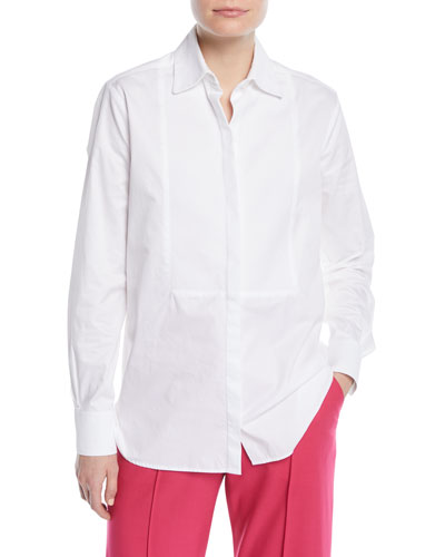 Long-Sleeve Button-Down Cotton Poplin Shirt