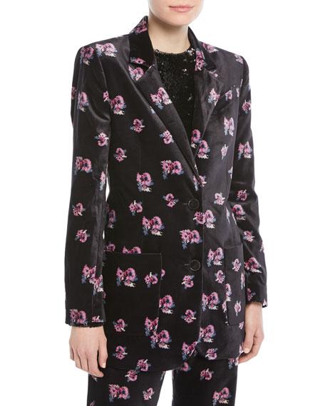 Alfred Two-Button Floral-Print Long Velvet Blazer