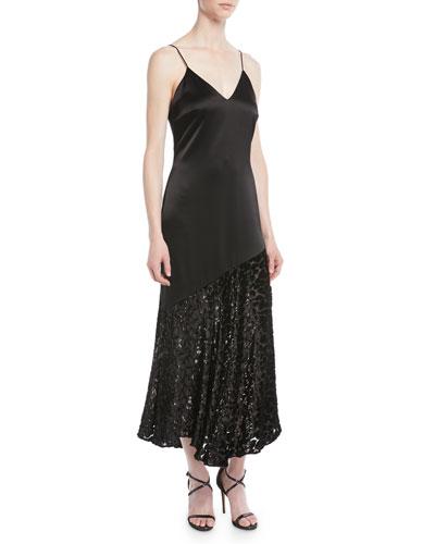 V-Neck Sleeveless A-Line Satin Evening Gown with Devore Velvet Bottom