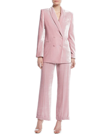 Charlie High-Waist Cuffed Straight-Leg Shiny Velvet Pants