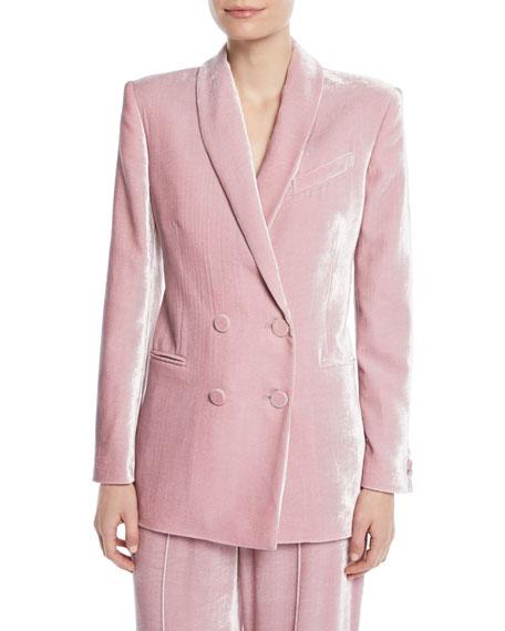 Gloria Double-Breasted Shiny Velvet Blazer