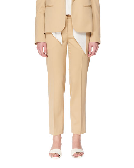 THE ROW Blake Straight-Leg Stretch-Wool Ankle Pants