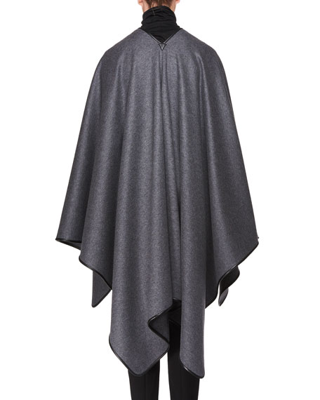 Shane Open-Front Wool Poncho with Leather Piping